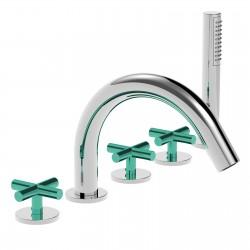 Crosstech deck mounted bathtub set 5 holes, 3 colored handles 12848LC