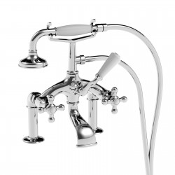 Deck mounted bath mixer with shower set (180 mm centre to centre distance) Leonardo 23026/180