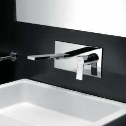 Gaia rubinetto miscelatore monocomando lavabo incasso con placca e bocca d'erogazione mm 209 55034
