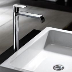 High version single-lever washbasin mixer without waste Tolomeo 83065