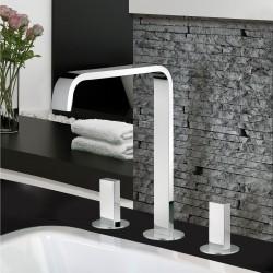 Batteria per lavabo a 3 fori con bocca d'erogazione alta Vita Fratelli Frattini 53068