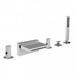 Deck mounted bath mixer with diverter, pull-out shower and spout Vita 53029A