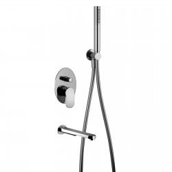 Fosca rubinetto miscelatore per vasca incasso con placca a muro completo di doccetta e bocca d'erogazione 86009