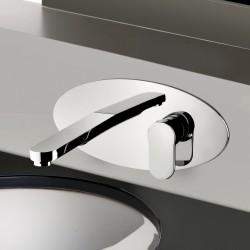 Fosca rubinetto miscelatore monocomando lavabo incasso con placca e bocca d'erogazione mm 224 86034