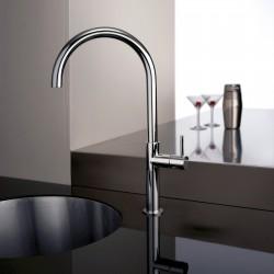 Pepe rubinetto miscelatore monocomando per lavello con  bocca d'erogazione girevole  e canna curva 12165