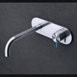 Toki single lever built-in basin mixer with curved spout and entire backplate