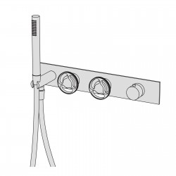 Kàto high flow rate wall-mounted horizontal shower group made of thermostatic mixer 2 ways