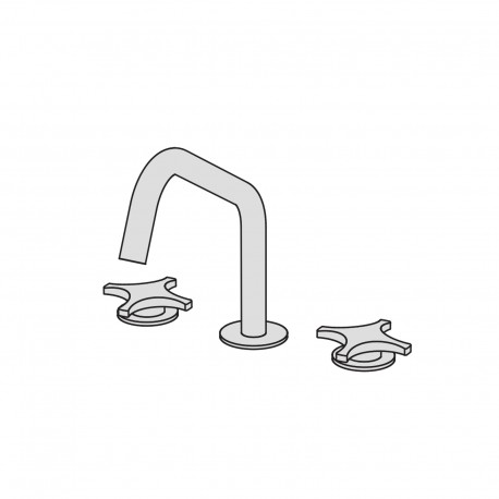 Dixi 3 hole basin set with two remote controls with ceramic valves and swivel spout