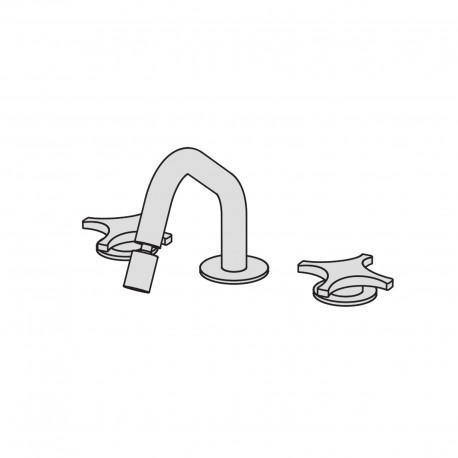 Dixi 3 hole bidet set with two remote controls with ceramic valves and swivel spout
