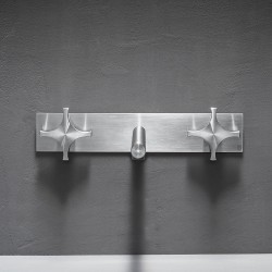 Dixi rubinetto lavabo incasso con placca a muro con 2 comandi DIX28