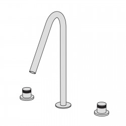 Hiro 3 hole basin set with two remote controls with ceramic valves and big swivel spout