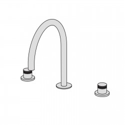 Hiro 3 hole basin set with two remote controls with ceramic valves and bridge-shaped swivel spout