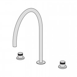 Hiro 3 hole basin set with two remote controls with ceramic valves and big bridge-shaped swivel spout
