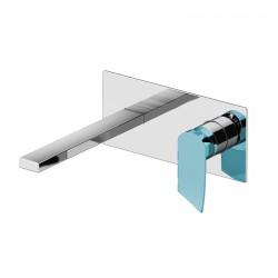 Soffio rubinetto per lavabo incasso a muro con placca leva colorata e scatola ispezionabile GBOX 8135