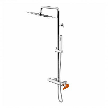 Color External shower mixer, shower column with anti-limestone brass shower head 250 x 250 mm and 1 jet hand-shower 8095/PDCO