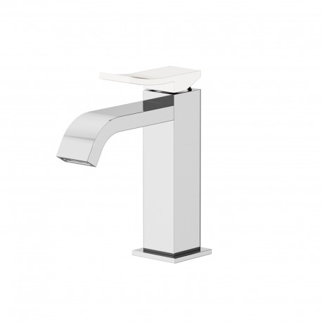 Color basin mixer with adjustable waste, with manual plug, flex inox, spout 120 mm 8042