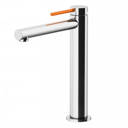 Circle One basin mixer with adjustable waste, with manual plug, flex inox, spout 160 mm 9046