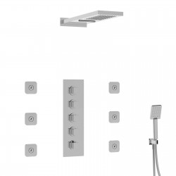 Thermostatic shower mixer with two outs overhead shower, shower set and body-jets 89045