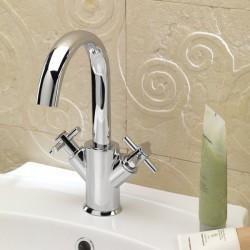 Ovaline rubinetto per lavabo 2 maniglie con bocca d'erogazione alta 26603CROSS