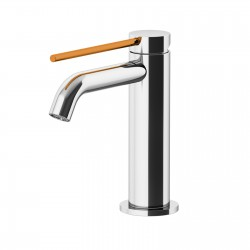 Circle Two Basin mixer with adjustable waste, with manual plug, flex inox, spout 115 mm 9142
