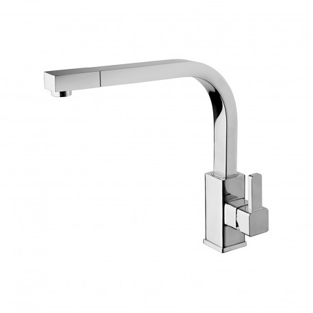 Java sink mixer with 90° high spout and pull-out spray 28881