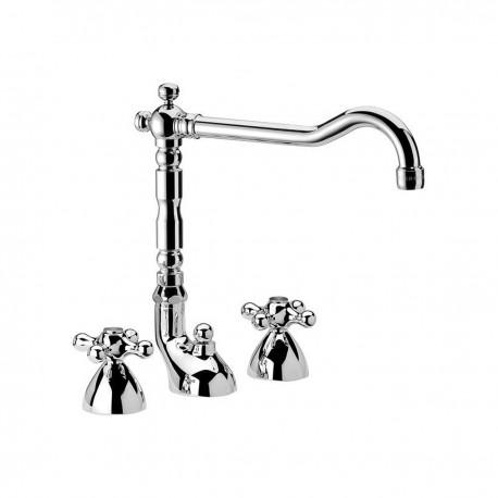 "Revival washbasin set with ""Antique"" spout and pop-up waste V5104"