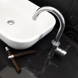 Side lever lavatory faucet with tall spout Konvex La Torre 17601