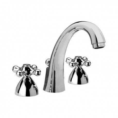 Revival three holes washbasin mixer with cast spout and pop-up waste V5003L