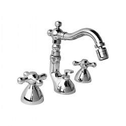 "Revival three holes bidet mixer with ""Antique"" spout and pop-up waste V6004"