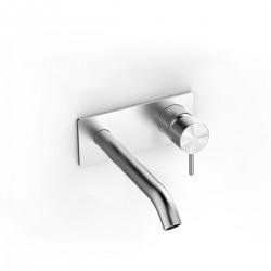 Z316 Inox miscelatore a parete per lavabo con placca e bocca d'erogazione lunga