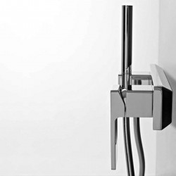 Qquadro external shower single lever mixer with flexible pipe and POP hand shower
