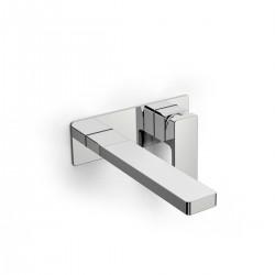 Qquadro rubinetto miscelatore per lavabo incasso a parete con bocca d'erogazione lunga