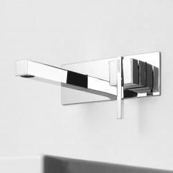 Soqquadro rubinetto lavabo incasso a parete con placca e bocca d'erogazione lunga