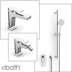 100 rubinetti miscelatori set completo di lavabo, bidet, incasso doccia e saliscendi