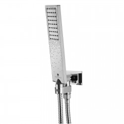 Shower set with supply elbow and swivel hook, brass hose Flat One Crystal Line Bossini C13001