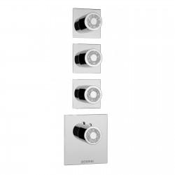 Miscelatore termostatico alta portata 3 uscite pomolo tondo Crystal Line Bossini Z030202000-Z031205