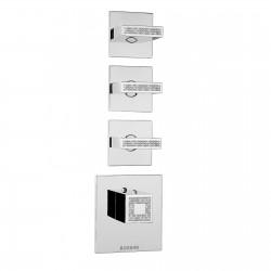 Miscelatore termostatico alta portata 3 uscite pomolo squadrato Crystal Line Bossini Z030202000-Z033205