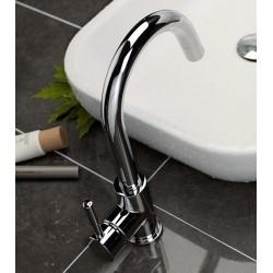 Rubinetto miscelatore monocomando per lavabo con bocca d'erogazione alta Newtech La Torre 12601