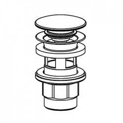 Piletta Clic-Clac in acciaio inox per lavabo con foro troppo-pieno Ritmonio 78Q004