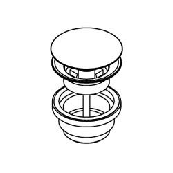 Piletta Clic-Clac tutta acciaio inox per lavabo con foro troppo-pieno Ritmonio 78Q007