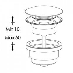 Piletta Clic-Clac per lavabo con foro troppo-pieno Ritmonio E0BA0176S/F
