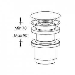 Piletta Clic-Clac per lavabo senza foro troppo-pieno Ritmonio E0BA0176H3SF