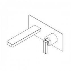 Rubinetto miscelatore monocomando per lavabo a parete con placca Tetris Ritmonio P0BA5114
