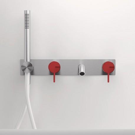 Gruppo vasca a parete con bocca d'erogazione mm 160 Z316 Inox Color Zazzeri 3300i401A00AS