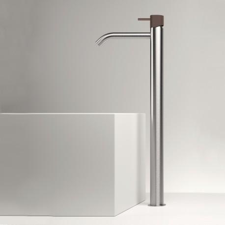 Rubinetto miscelatore monocomando alto per lavabo senza scarico Z316 Inox Color Zazzeri 33001098A00AS