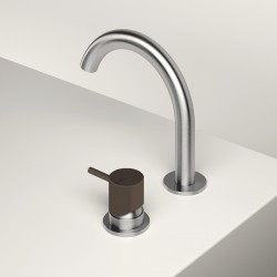 Single lever washbasin mixer with revolving spout Z316 Inox Color Zazzeri 33001108A02AS