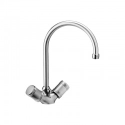 One hole washbasin mixer with tube spout and pop-up waste Life Daniel Rubinetterie L5116