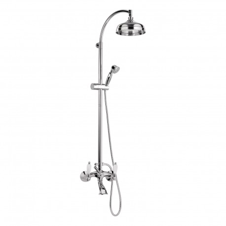 Retrò bathtub mixer with sliding rail column and diverter with shower, flexible and shower head all in brass RT4136