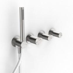 Incasso doccia a tre fori con deviatore a 2 uscite e doccetta Z316 Inox Zazzeri 3301B401A01 - 3301A401A01