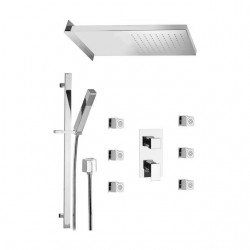 Shower kit with rectangular shower head, sliding rail, body jets and mixer with diverter Skyline SK613ZSS